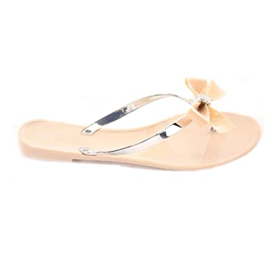 a413deec41bb WOMEN LADIES DIAMANTE BOW TOE POST JELLY SUMMER FLIP FLOP BEACH SANDALS  SHOES  Amazon.co.uk  Shoes   Bags
