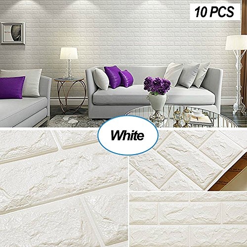 Masione 3D Self-Adhesive Wall Panels Faux Foam Bricks Wallpaper for TV Walls/Sofa Background Wall Decor (White-10 Pieces 58.13 sq.ft) ()