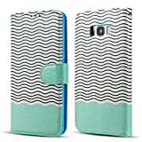 EYZUTAK Magnetic Case for Samsung Galaxy S7 Edge - Bling Glitter Wave Pattern - PU Leather Flip Wallet Stand Cover with TPU Inner Credit Card Holder Case for Samsung Galaxy S7 Edge - Mint Green