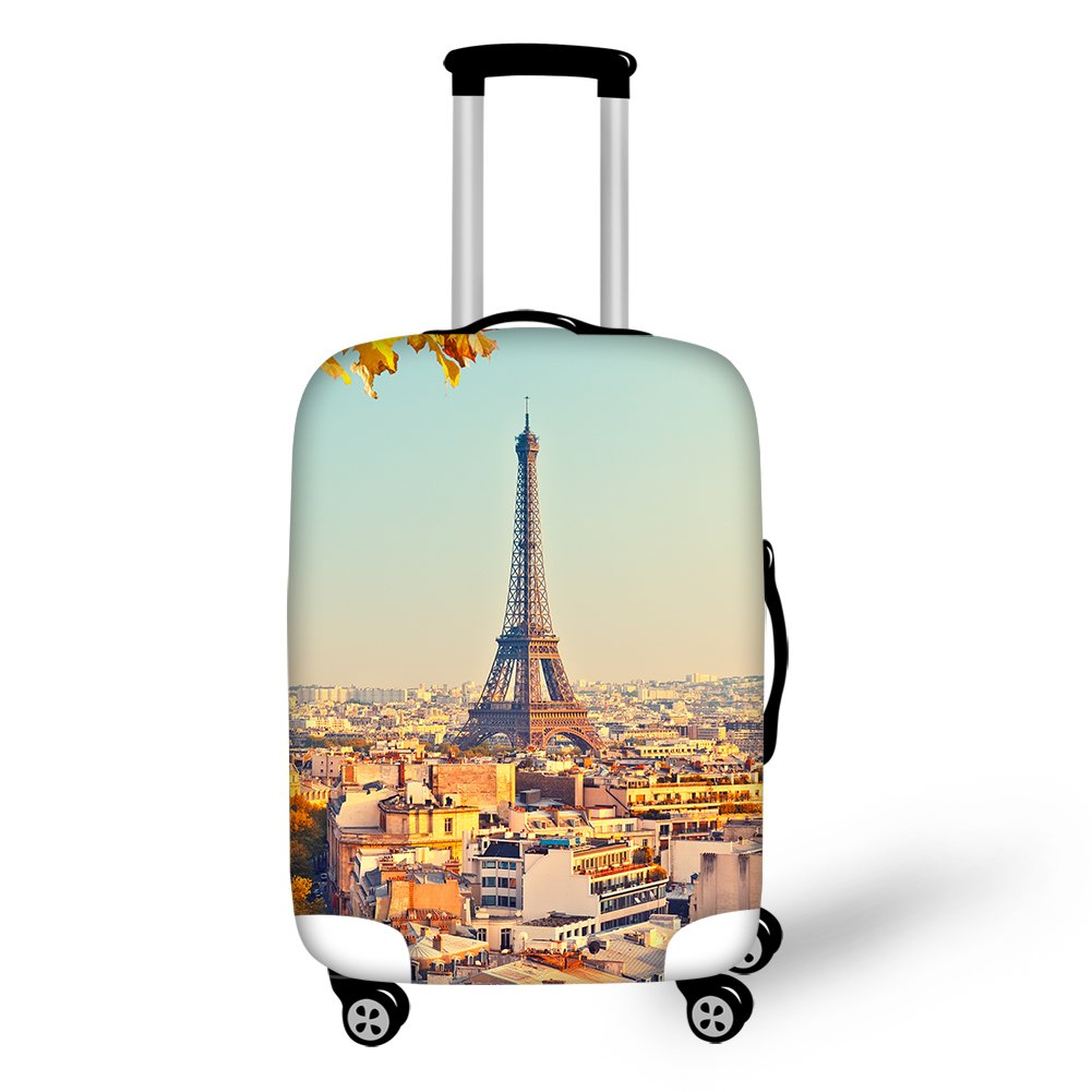 Horeset Travel Luggage Cover Eiffel Tower Pattern Travel Suitcase Washable Protector Fits 18-30 Inch 7