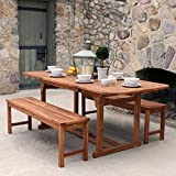 WE Furniture Solid Acacia Wood 3-Piece Patio Dining Set