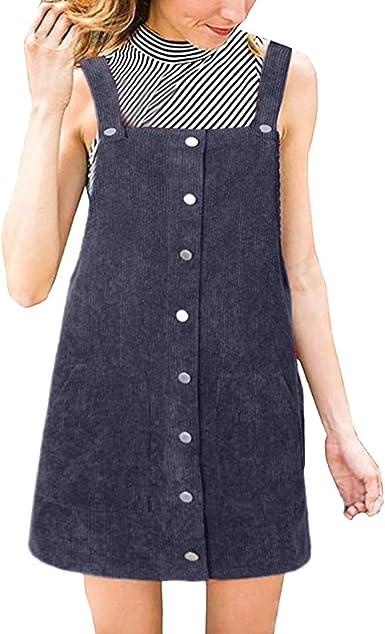 Vestido Peto Corta para Mujer Primavera Invierno, PAOLIAN Vestido ...
