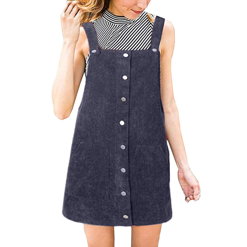 Ulanda Women's Straps A-line Corduroy Suspender Skirt Pinafore Bib Overall Dress with Pocket Blue