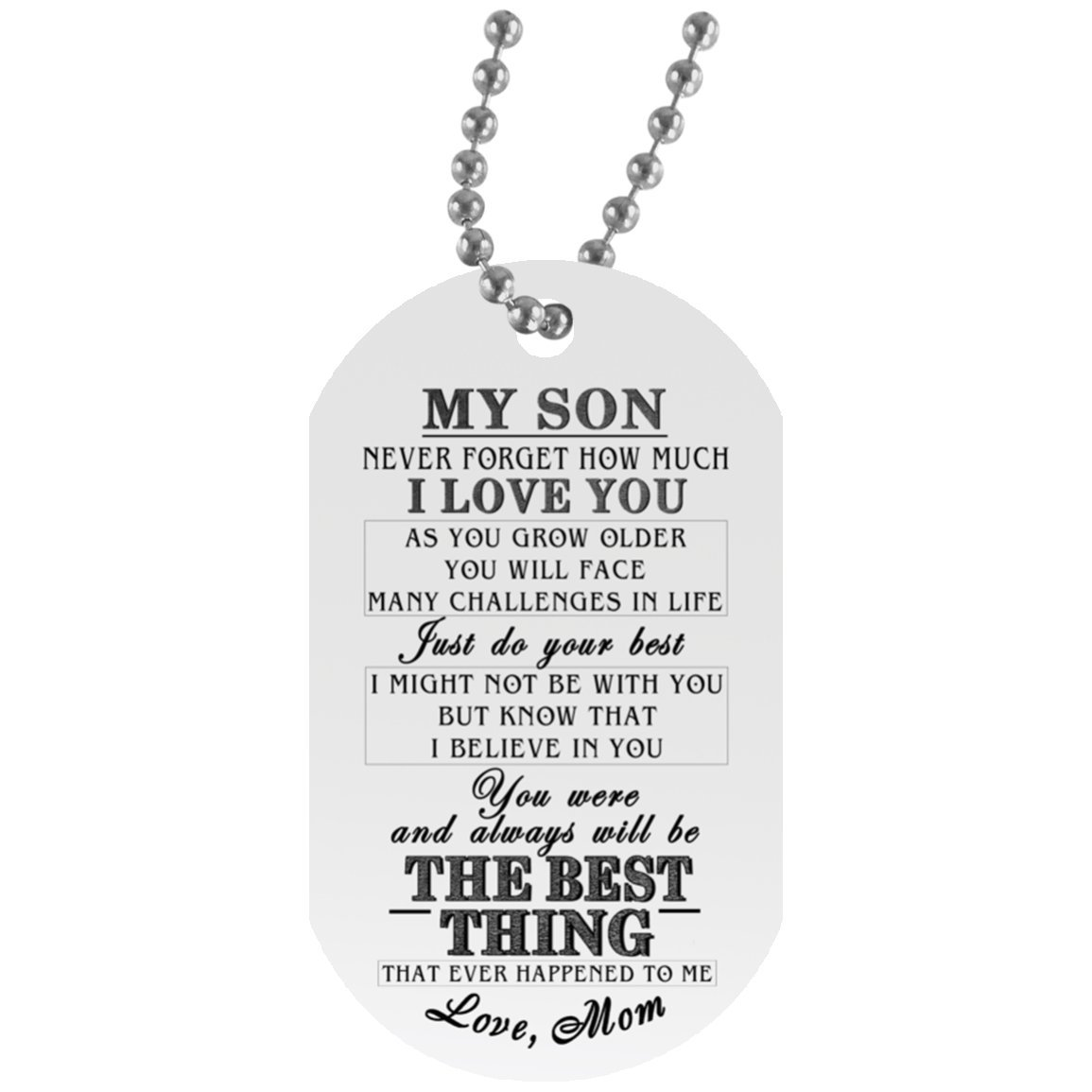 eConvenience Store Son Dog Tag Necklace From Mom - Son Mother Gifts for Him on Birthday Christmas - Love Gift Military Inspired Aluminum Dog Tag