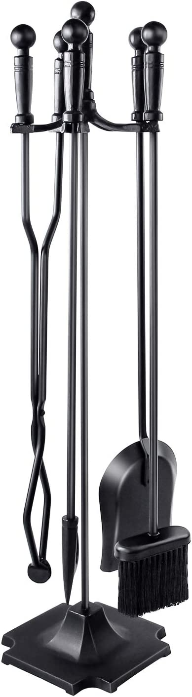 WBHome Fireplace Tools Set 5 Pieces Wrought Iron Fireset Fire Pit Poker Wood Stove Log Tongs Holder Fireplace Tool Set With Pedestal Place, 32 Inch (Black All)