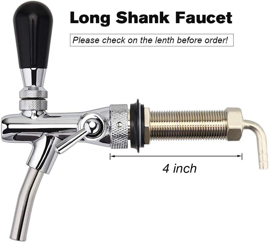 Stainless Steel Elbow Shank Tap Kegerator Draft Beer Faucet for Beer Keg