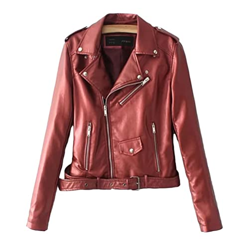 Zhuhaitf Long Sleeve PU Leather Ladies Jacket Motorcycle Lab Coat Special Color The Best Gifts Cómodo y hermoso for Women Casual