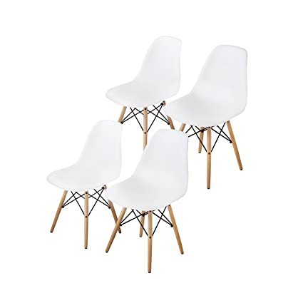 Attirant Buschman Set Of Four White Eames Style Mid Century Modern Dining Room  Wooden Legs Chairs