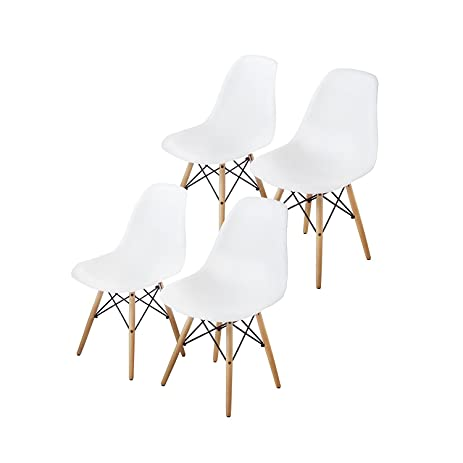 Buschman Mid Century Modern Dining Room Chairs   Eames Style Chair, White,  Set Of