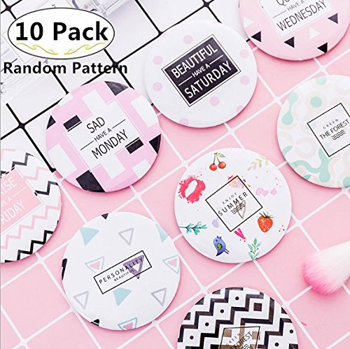 10 Pack Portable Cosmetic Makeup Mirror, Magnolora Small Round Mirror Compact Mirror Travel Pocket Mirrors, Great Gift, Party Favors