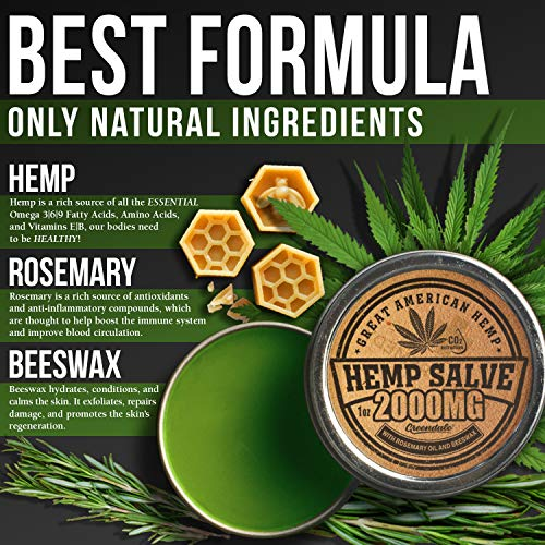 61bjLf0WqbL - Hemp Oil Salve for Pain Relief - 2000 Mg - Fast Acting & Natural - Knee, Muscle, Joint, Neck & Back Pain Relief - Premium Hemp Oil Made in USA - Anti Inflаmmаtory Hemp Balm - MAX Efficacy - No GMO
