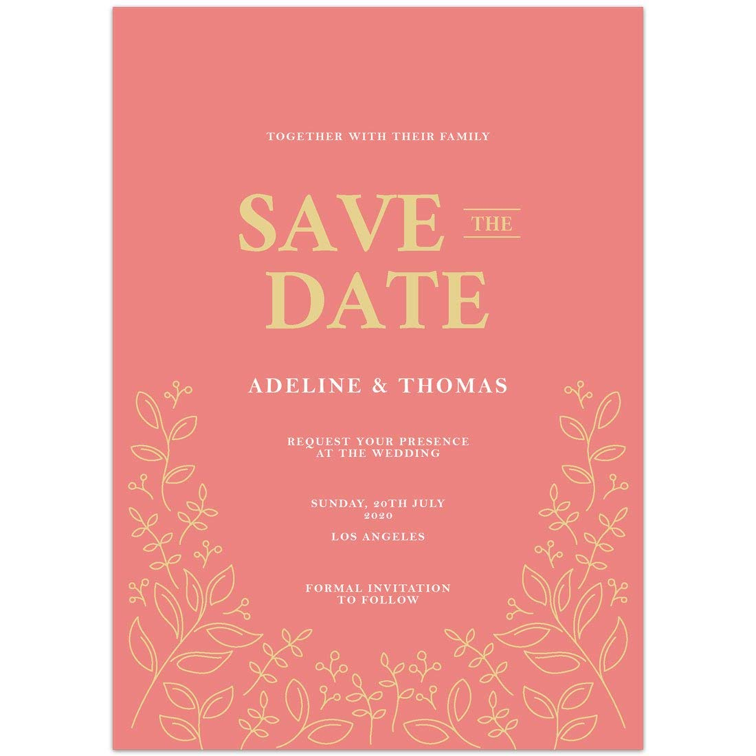 Peach Gold Save the Date Card Wedding Invitation