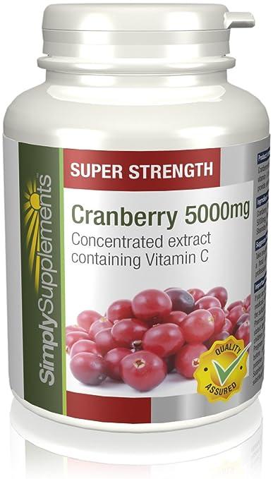 Arándanos Rojos 5000mg - 120 comprimidos- Hasta 6 meses de suministro - infección de orina y sistema inmune - SimplySupplements