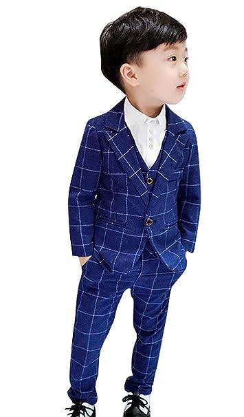 27c4a6f144 La Vogue Three Pieces Formal Suit Kids Boys Wedding Party Classic Plaid  Suit Page Boy Suit