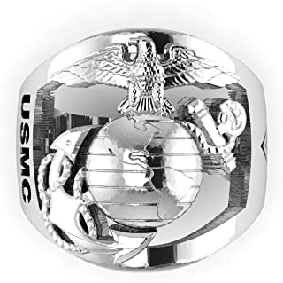 product image for Continuum Sterling Silver Marine Corps Ring with Open Back Eagle Globe and Anchor, USMC and CWO5 Rank MR40