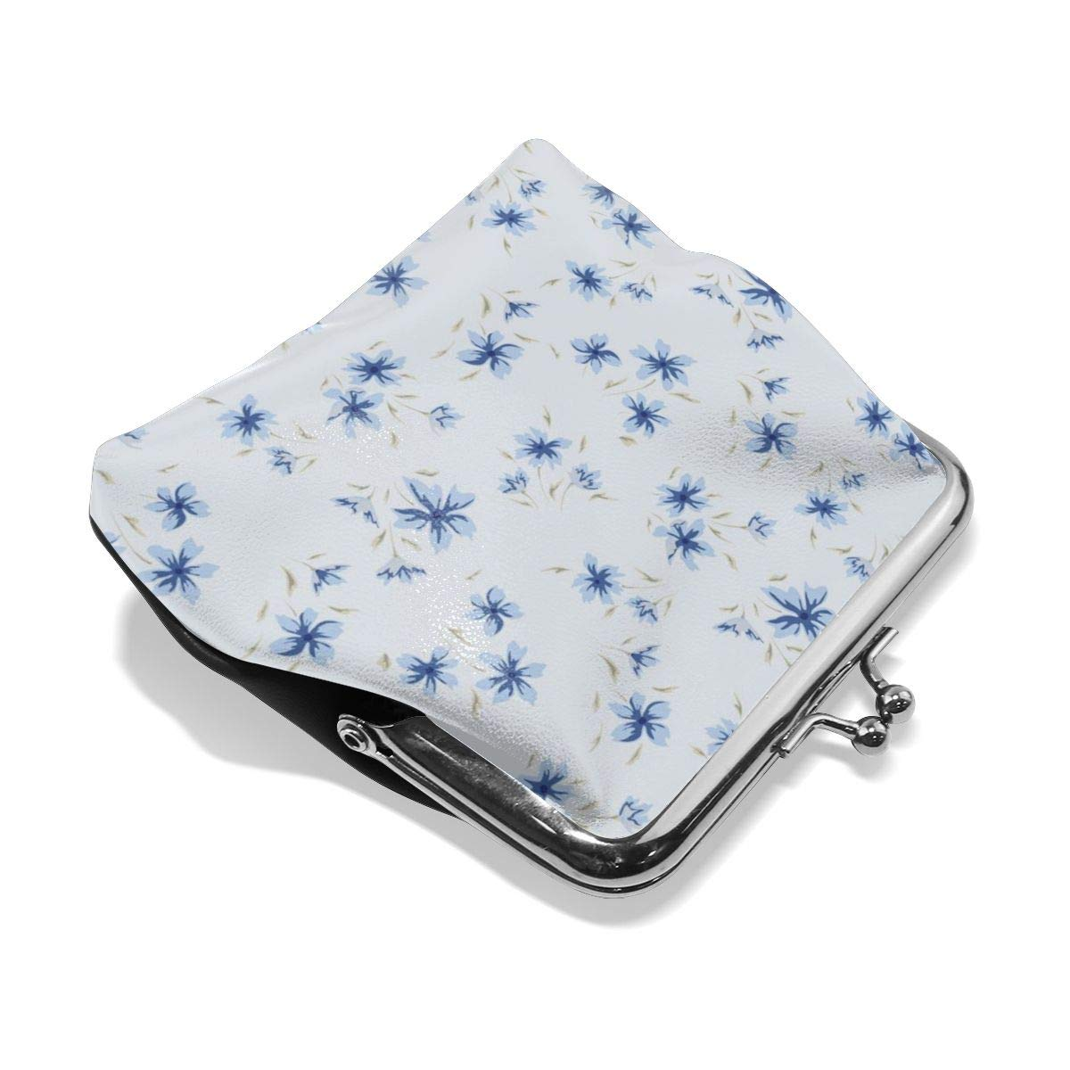 Poream Blue Small Floral Seamless Illustration Personalized Retro Leather Cute Classic Coin Purse Clutch Pouch Wallet For Womens
