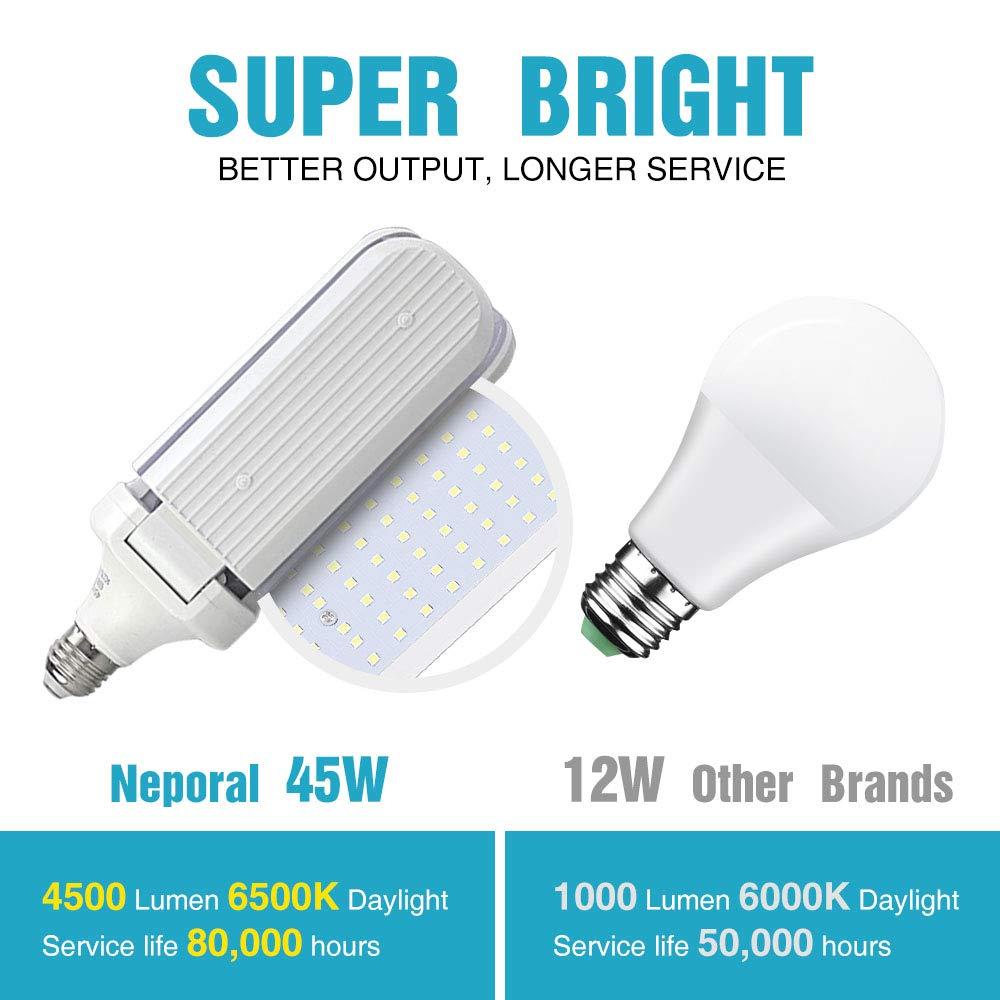 Tribright-LED-Garag-Light-45W 4500lm LED Shop Light for Garage Screw-in Ceiling Light E27 Adjustable Basement Light for High Bay Garage Workshop Basement Storage and Barn