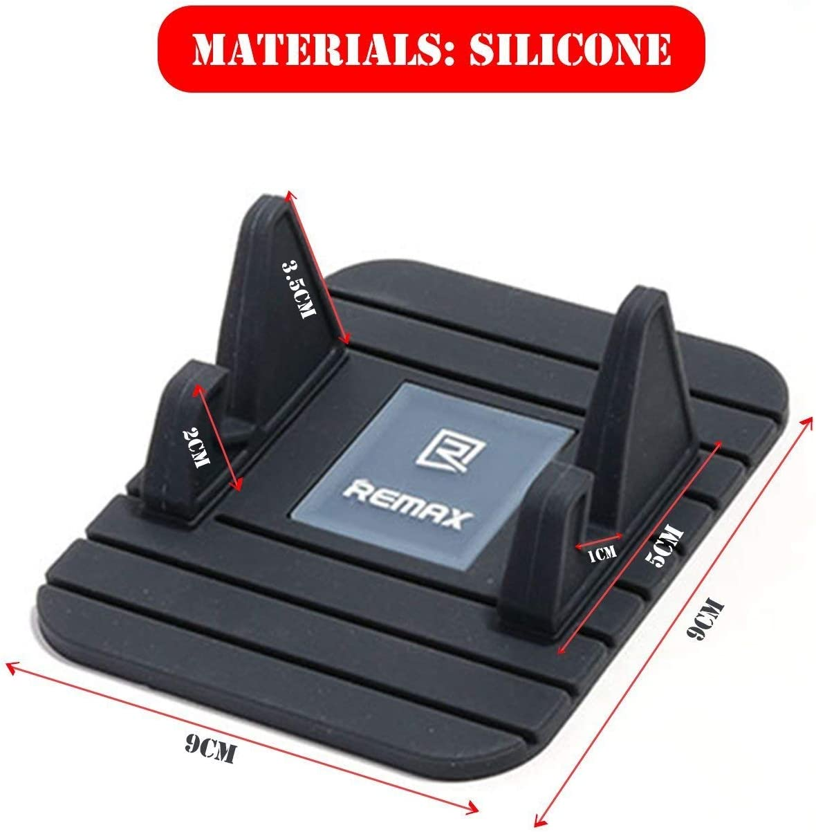 Red Car Mount Silicone Pad Non-Slip Mat Phone Car Holder Stand Cradle Dock for iPhone//Android//Type-C Mobile Phones BestTeam Car Silicone Phone Holder