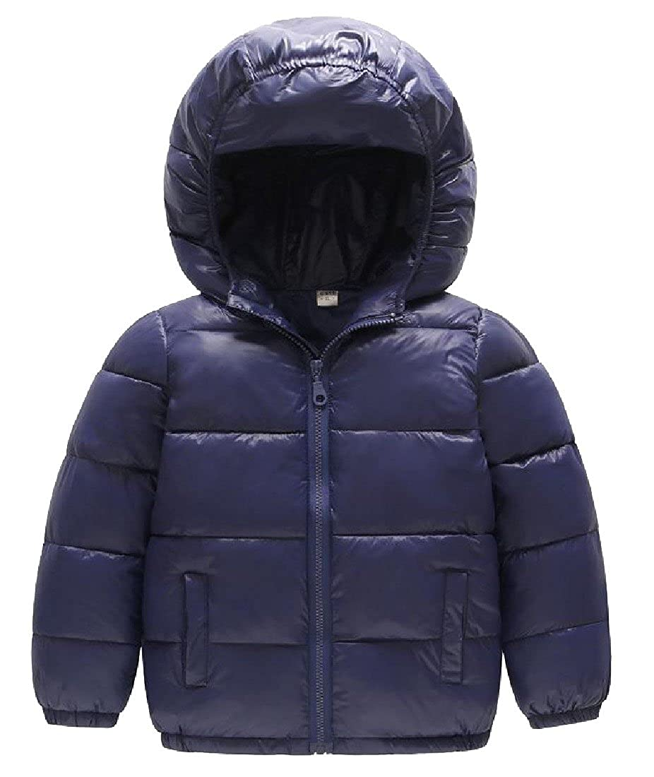 LinkShow Kids Quilted Basic Winter Cute Hood Zip Solid Down Outerwear