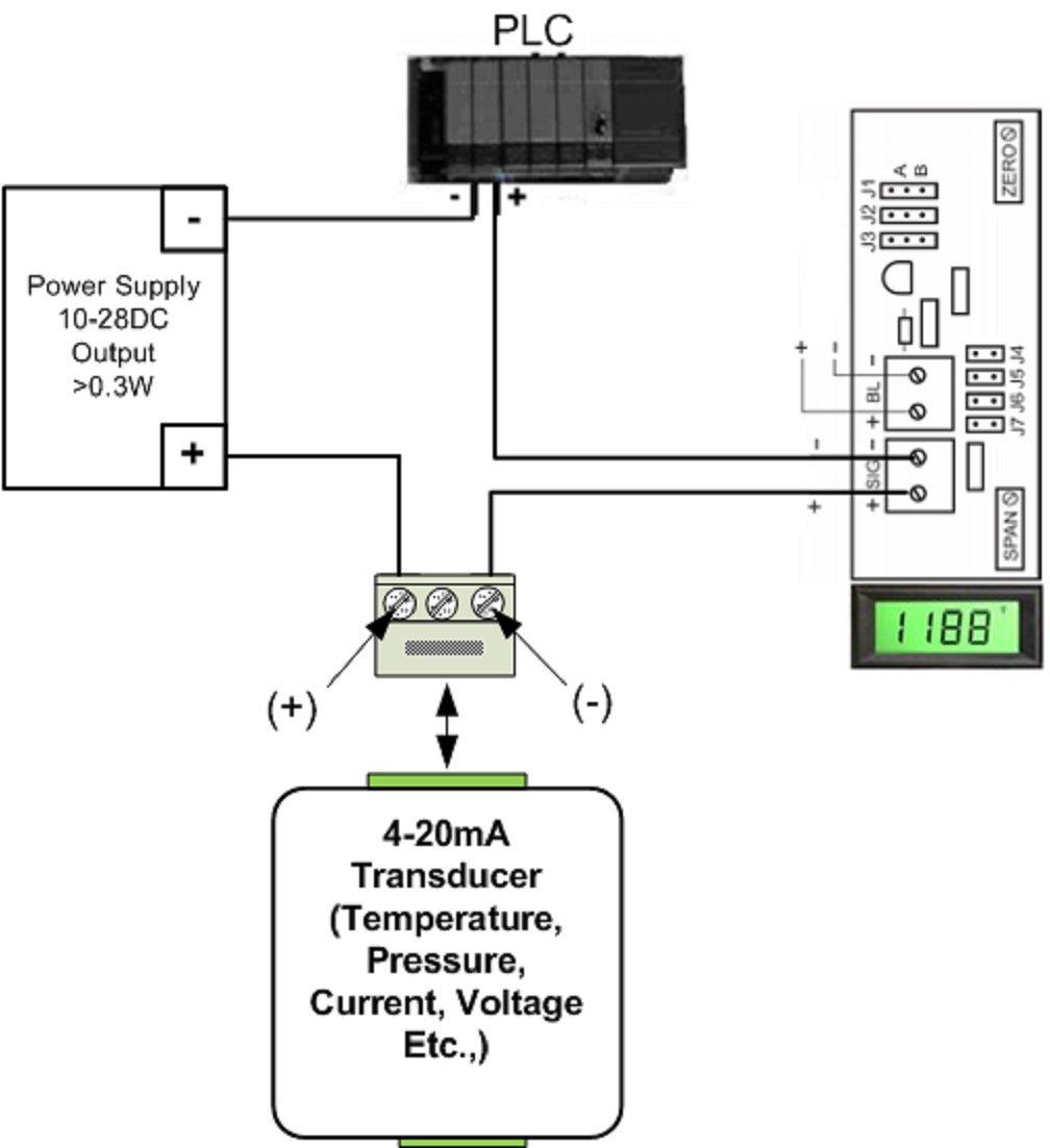 Osmlp 3ewgp Digital Panel Meter Lcd Display 4 20ma Loop Powered Circuit Diagram Green Pos Window Mount Industrial Scientific