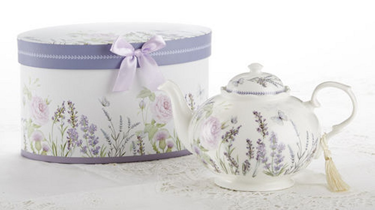 Delton Products Porcelain Tea Pot, Lavender and Rose Pattern, Arrives in Matching Keepsake Box 8100-7