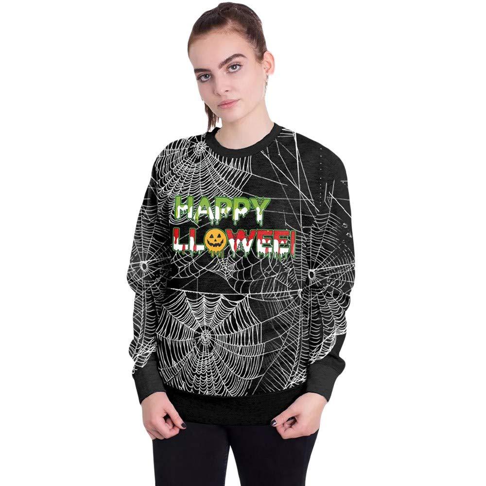 kaifongfu Women's Halloween Sweatshirt 4D Print Spider Web Ladies Pullover Top(Black,L)
