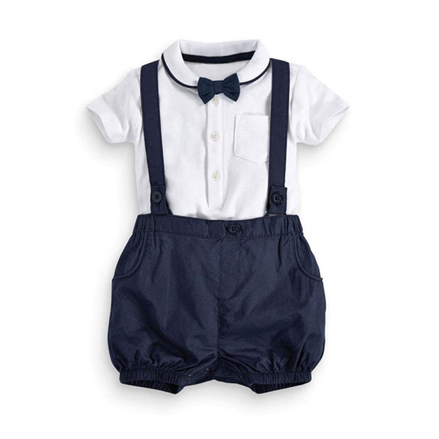 Kingko 0~24 Months 2pcs Toddler Baby Infant Boys Outfits Bow Tie+T-Shirt+Strap Kids Clothes Set
