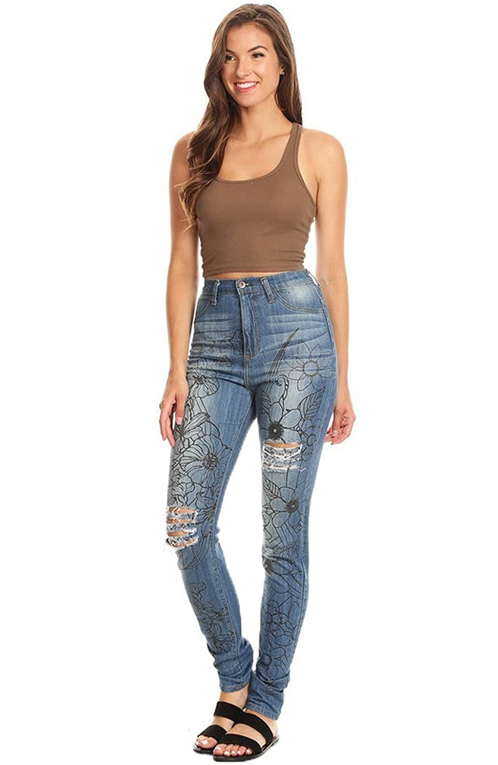 6c6bf5a072 JJ-GOGO Mid Waist Jeans - Womens Skinny Ripped Hole Jeans Push up Casual Slim  Fit Long Jeans Trousers at Amazon Women's Jeans store