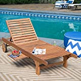 Most Popular Hot Selling Solid Acacia Hardwood Outdoor Weather Resistant Pool Deck Patio Chaise Lounge- Strong Sturdy Pull Out Tray- Decay Mold Mildew Insect Resistant Long Lasting Durable Portable