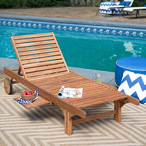 Most Popular Hot Selling Solid Acacia Hardwood Outdoor Weather Resistant Pool Deck Patio Chaise Lounge- Strong Sturdy Pull Out Tray- Decay Mold Mildew Insect Resistant Long Lasting Durable Portable Hardwood Chaise Lounge