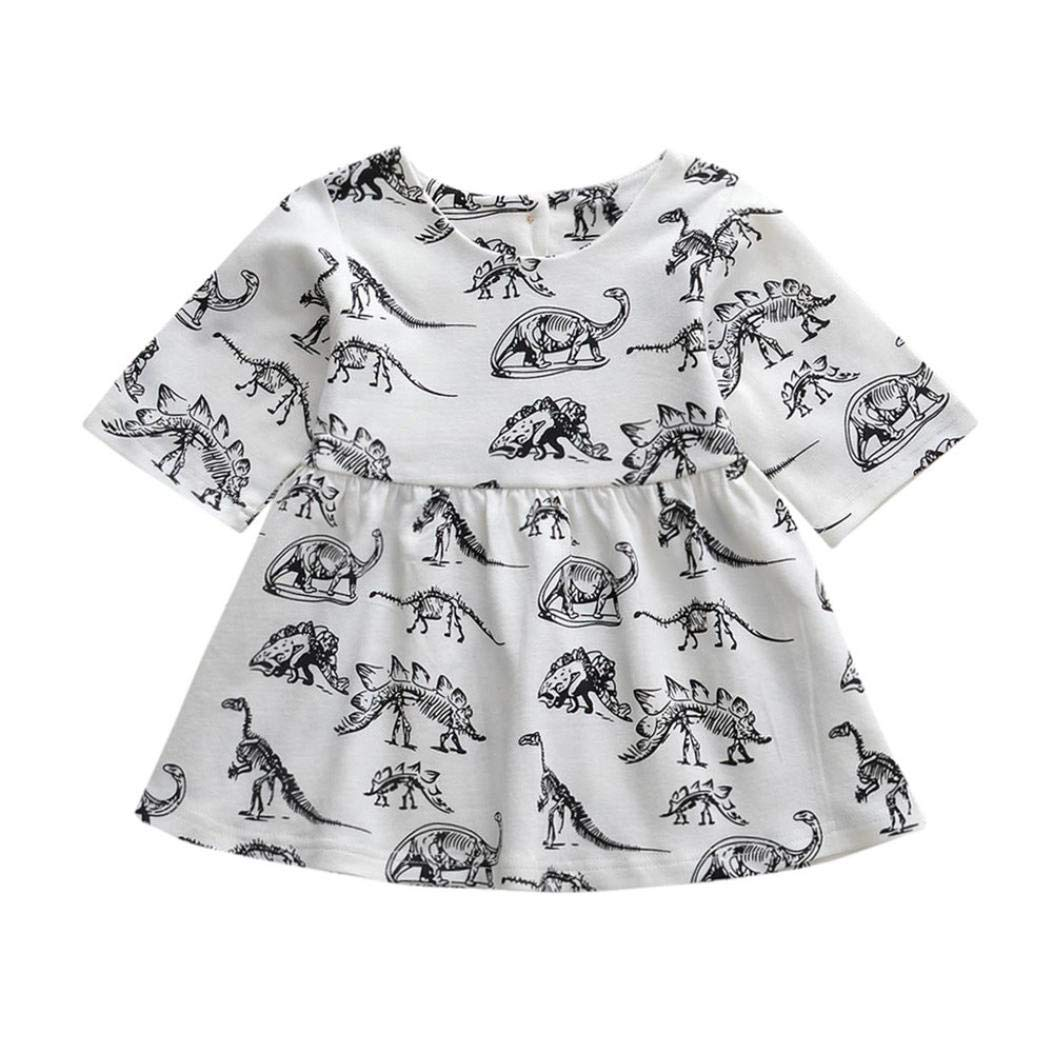 74aed4dc Amazon.com: Vicbovo Little Girl Dress, Toddler Baby Girl Short Sleeve  Cartoon Dinosaur Dress Casual Party Dress Clothes: Clothing