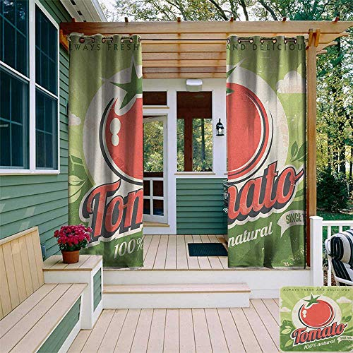 Nickel Contemporary Poster - leinuoyi Vintage, Outdoor Curtain Ends, Vintage Tomato Poster with an Antique Paper Print in Contemporary Graphic Design, for Balcony W96 x L108 Inch Green Red