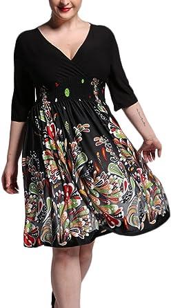 Haidean Mujer Vestidos Tallas Grandes Elegante Mangas 3 4 V Cuello Impresion Floral Fiesta Vestido Modernas Casual Fashionista Bonita Verano Medium Largos Coctel Dress Ropa Amazon Es Ropa Y Accesorios