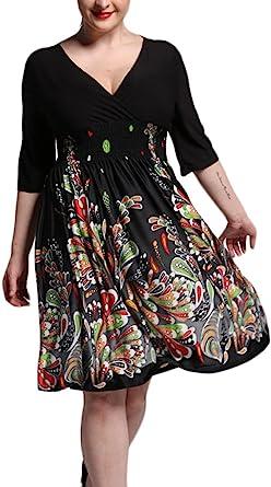 Mujer Vestidos Tallas Grandes Elegante Mangas 3 4 V Cuello Impresion Ninas Ropa Floral Fiesta Vestido Fashionista Bonita Verano Medium Largos Coctel Dress Amazon Es Ropa Y Accesorios