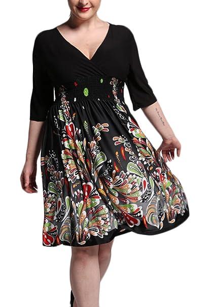 Battercake Mujer Vestidos Tallas Grandes Elegante Mangas 3/4 V Cuello Impresión Floral Casuales Mujeres Fiesta Vestido Fashionista Bonita Verano Medium ...