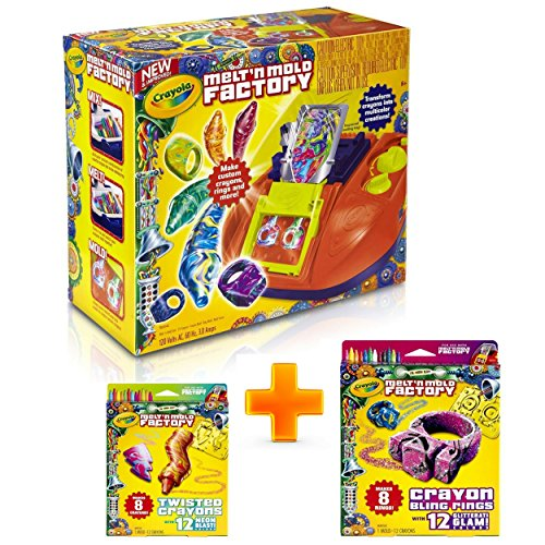Crayola Melt N Mold Factory BUNDLE (3 in 1) |Make Your Own Crayons With Melter Machine and Enjoy Playing With Additional- Bling Rings & Twisted Crayons Expansion Packs Set