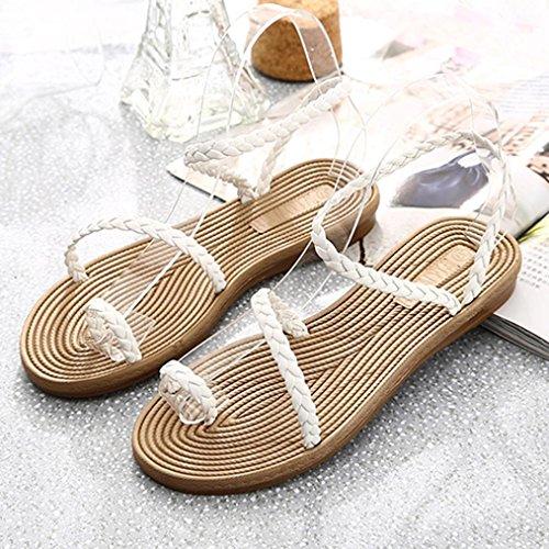 Elevin(TM)Women Summer Fashion Bohemia Weave Low Platform Flat Flip Flop Sandals Shoes White iazwt2D07a