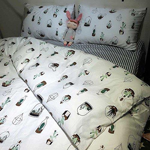 HlA Bettwäsche Garten im amerikanischen Stil Satin aus reiner Baumwolle Baumwolle Frottee Blumenstickerei 4 Stück Hochzeit Viskose Bettwäsche aus Satin , Kaktus gestreifte Bettüberwürfe 6 Ft