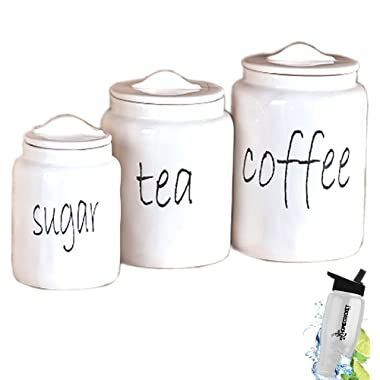 Gift Included- White Farmhouse Kitchen Countertop Sugar Tea Coffee Canister Set + FREE Bonus Water Bottle by Home Cricket Homecricket