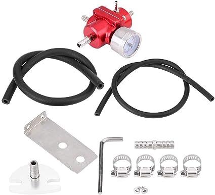 Qiilu Aluminum Alloy Universal FPR Fuel Pressure Regulator with Gauge Hose 0-140psi Adjustable Black