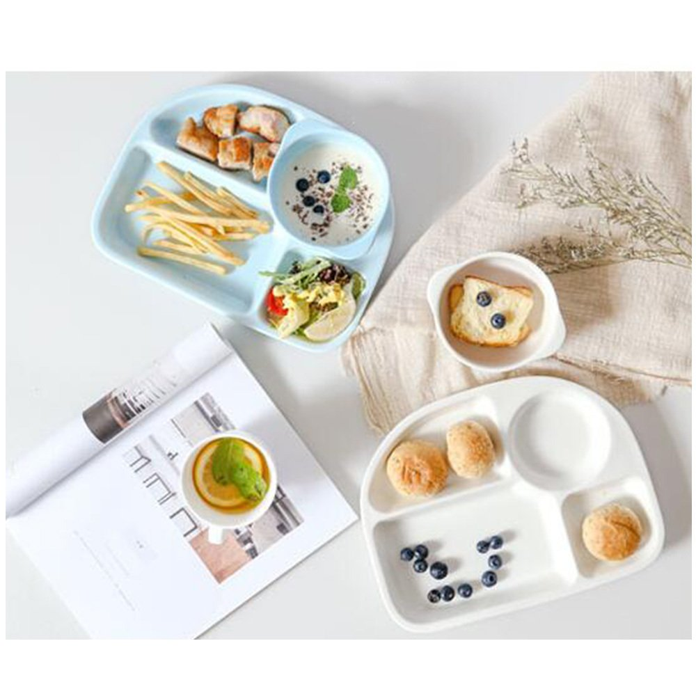 guodongdong Tableware Ceramic Creative Children's Snack Tray Separated Dining Tray Adult Separated Dishes Home Duoge,Blue by guodongdong (Image #5)