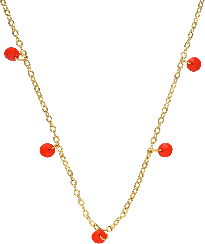 Córdoba Jewels | Gargantilla en Plata de Ley 925 bañada en Oro con Piedra semipreciosa con diseño Coral Charm Gold
