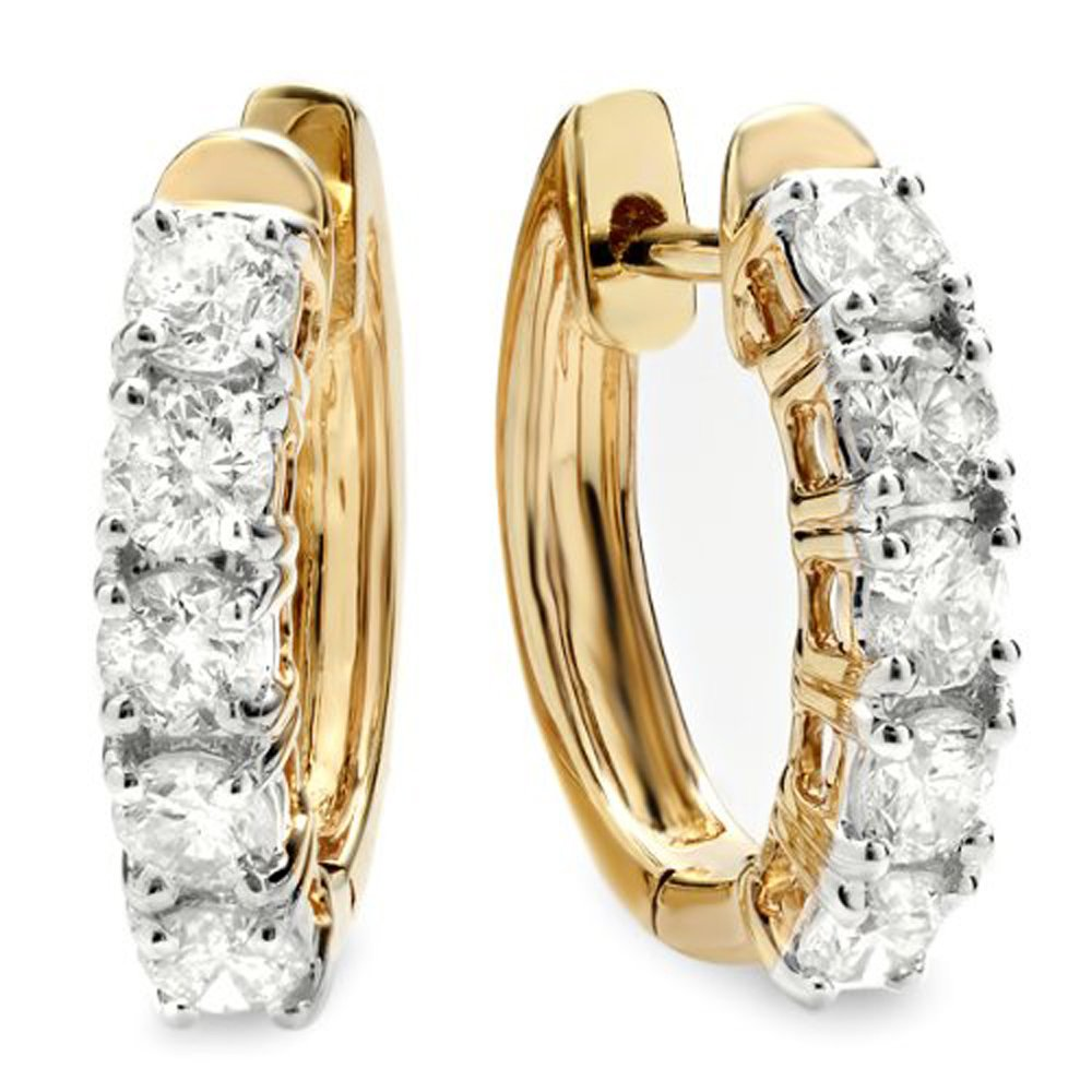 1.00 Carat (ctw) 18K Yellow Gold Round White Diamond Ladies Huggies Hoop Earrings 1 CT