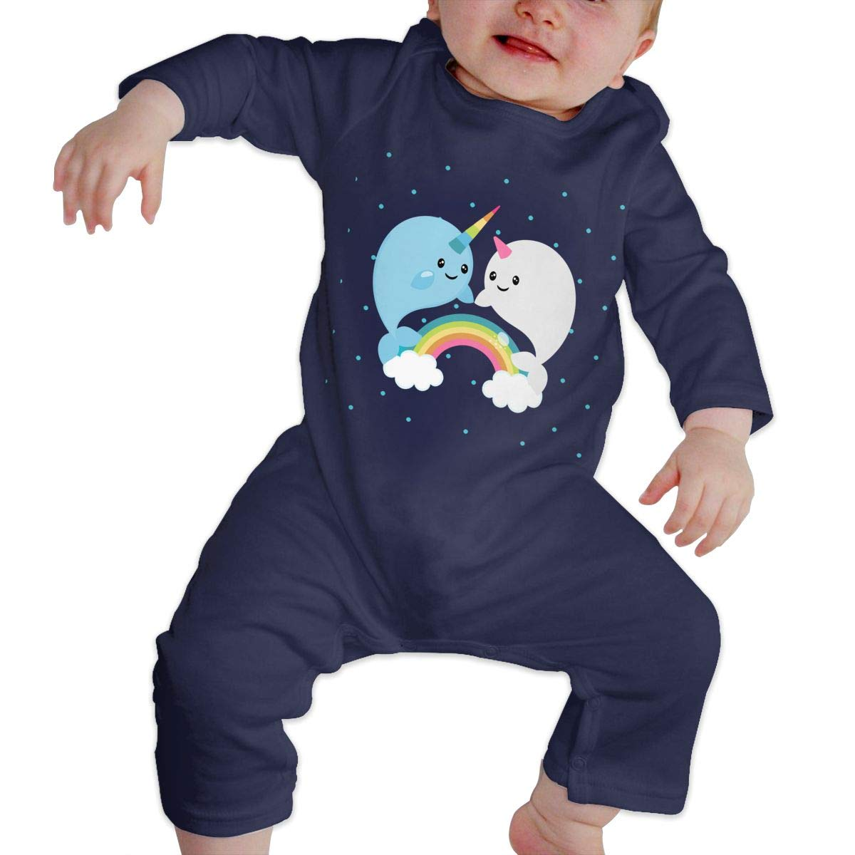 Baby Boy Coverall Rainbow Narwhals Baby Rompers