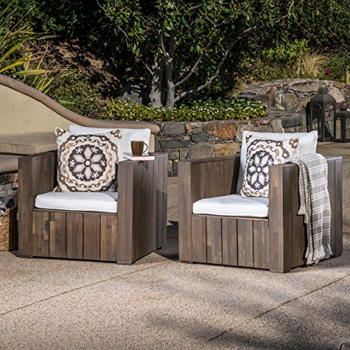 Deep Seating Club Chair Cushion (Great Deal Furniture Will Outdoor Grey Finished Acacia Wood Club Chairs with White Water Resistant Cushions (Set of 2))