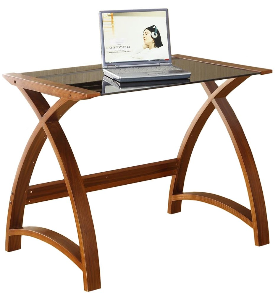 Jual Helsinki Compact Walnut And Glass Desk Amazoncouk Computers Accessories