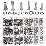 Hilitchi 510Pcs M4 / 5 / 6 Stainless Steel Metric Hex Head Cap Nuts Screw with Lock and Flat Washers Assortment Kit (Flat Head)