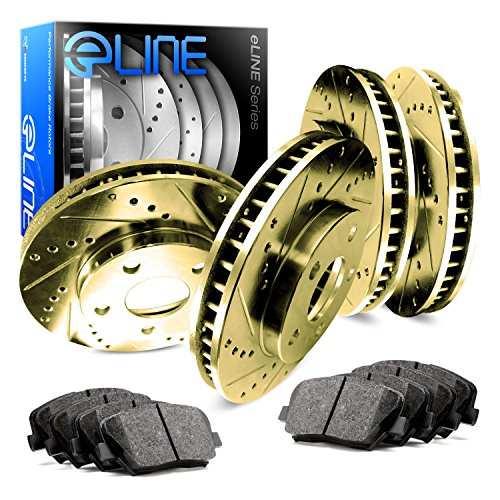 Kits Mustang Brake - 2011-2014 Ford Mustang Full Kit Gold Drilled Slotted Brake Rotors & Ceramic Pads