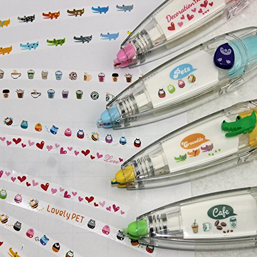 Pshine 4pcs Korea Stationery Cute Novelty Decorative Correction Tape Correction Fluid School & Office Supply