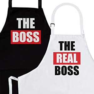 The Boss & Real Boss | 2-Piece Kitchen Apron Set | Matching Engagement Wedding Anniversary Bridal Shower Gift for Bride | Cool Wedding Gifts for The Couple Unique | Newly Married Presents